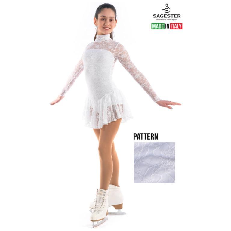 Girls Figure Ice Skating Dress Floral Lace Roller Skating Dress Sport Costumes